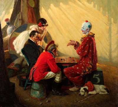 Norman Rockwell - Checkers (Game with Circus Clown), 1928