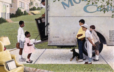 Norman Rockwell - New Kids in the Neighborhood (Negro in the Suburbs, Moving Day), 1967