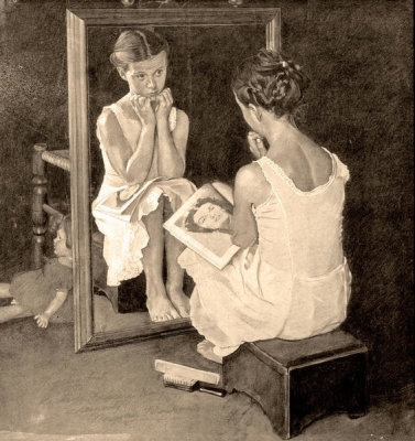Norman Rockwell - Girl at the Mirror (Drawing)