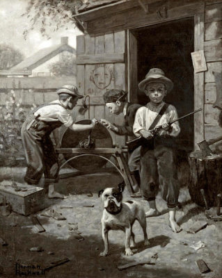 Norman Rockwell - Guarding the Playhouse (Drawing)