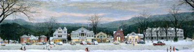 Norman Rockwell - Stockbridge Main Street at Christmas (Home for Christmas), 1967