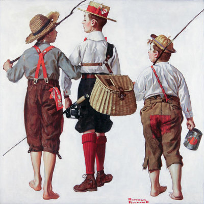 Norman Rockwell - Fishing Trip - They'll Be Coming Back Next Week, 1919