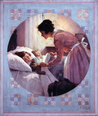 Norman Rockwell - Mother's Little Angels (Mother Tucking Children Into Bed), 1920