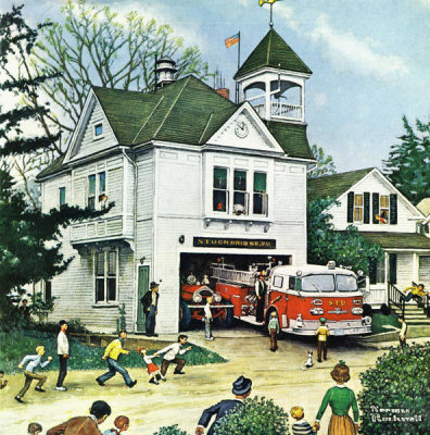 Norman Rockwell - The New American LaFrance is Here (Firehouse), 1971