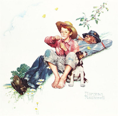 Norman Rockwell - Grandpa and Me: Picking Daisies, 1948