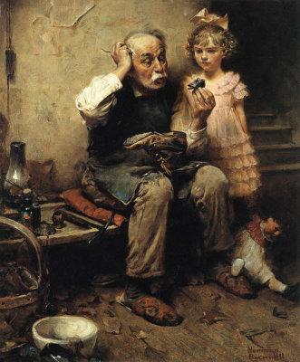 Norman Rockwell - Cobbler Studying Doll's Shoe, 1921