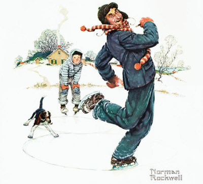 Norman Rockwell - Grandpa and Me: Skating, 1948