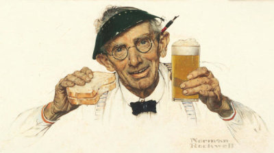 Norman Rockwell - Man with Sandwich & Glass of Beer, 1941