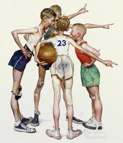 Four Sporting Boys Oh Yeah 1951 By Norman Rockwell